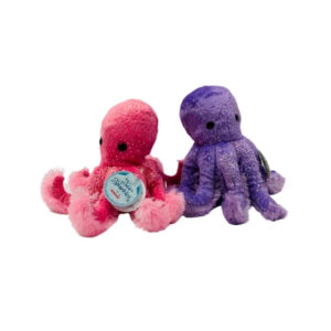 two sparkly sea octopus in pink and purple