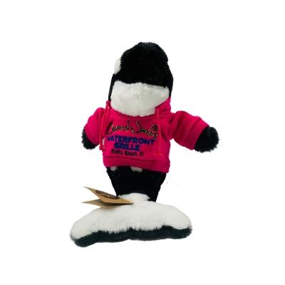 killer whale stuffed animal in pink hoodie