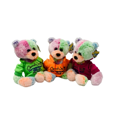 three tie-dye bears wearing hoodies
