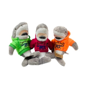 three #1 tiger shark dolls wearing coconut jacks hoodies