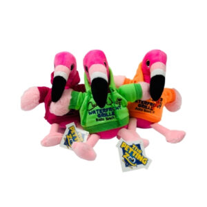 three flamingo stuffed animals with hoodies
