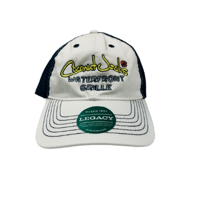 dark blue trucker hat with coconut jack's logo