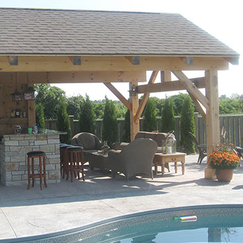 Timber Frame Cabana by the pool