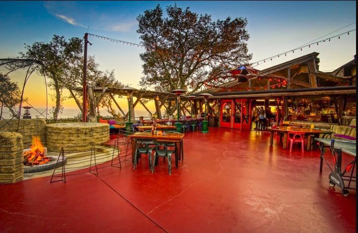 nepenthe patio at sunset