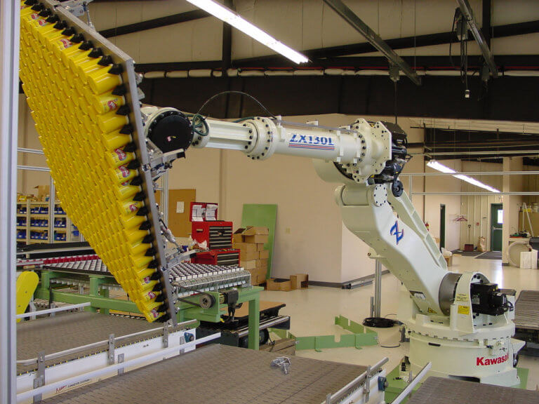 The product is securely held by the robot end-of-arm-tool between pick locations.