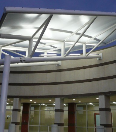 Fabric canopy at Johnson Memorial Greenwood intended to brighten patient's spirits