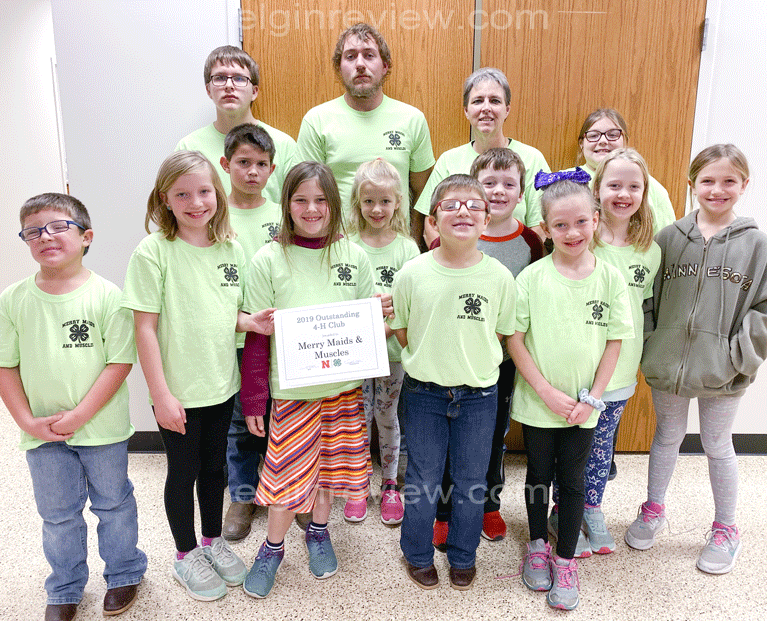 Elgin Nebraska Antelope County Nebraska Antelope County News newspaper Merry Maids & Muscles Club 4H 4-H awards