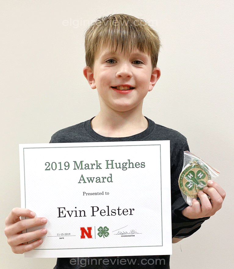 Elgin Nebraska Antelope County Nebraska Antelope County News newspaper Evin Pelster Mark Hughes Award 4H 4-H awards