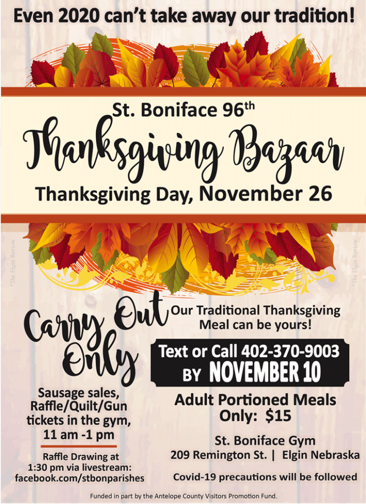 St. Boniface Thanksgiving Bazaar Elgin Nebraska Antelope County Nebraska news Elgin Review 2020