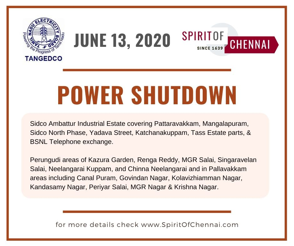 Chennai Power shutdown on June 13, 2020