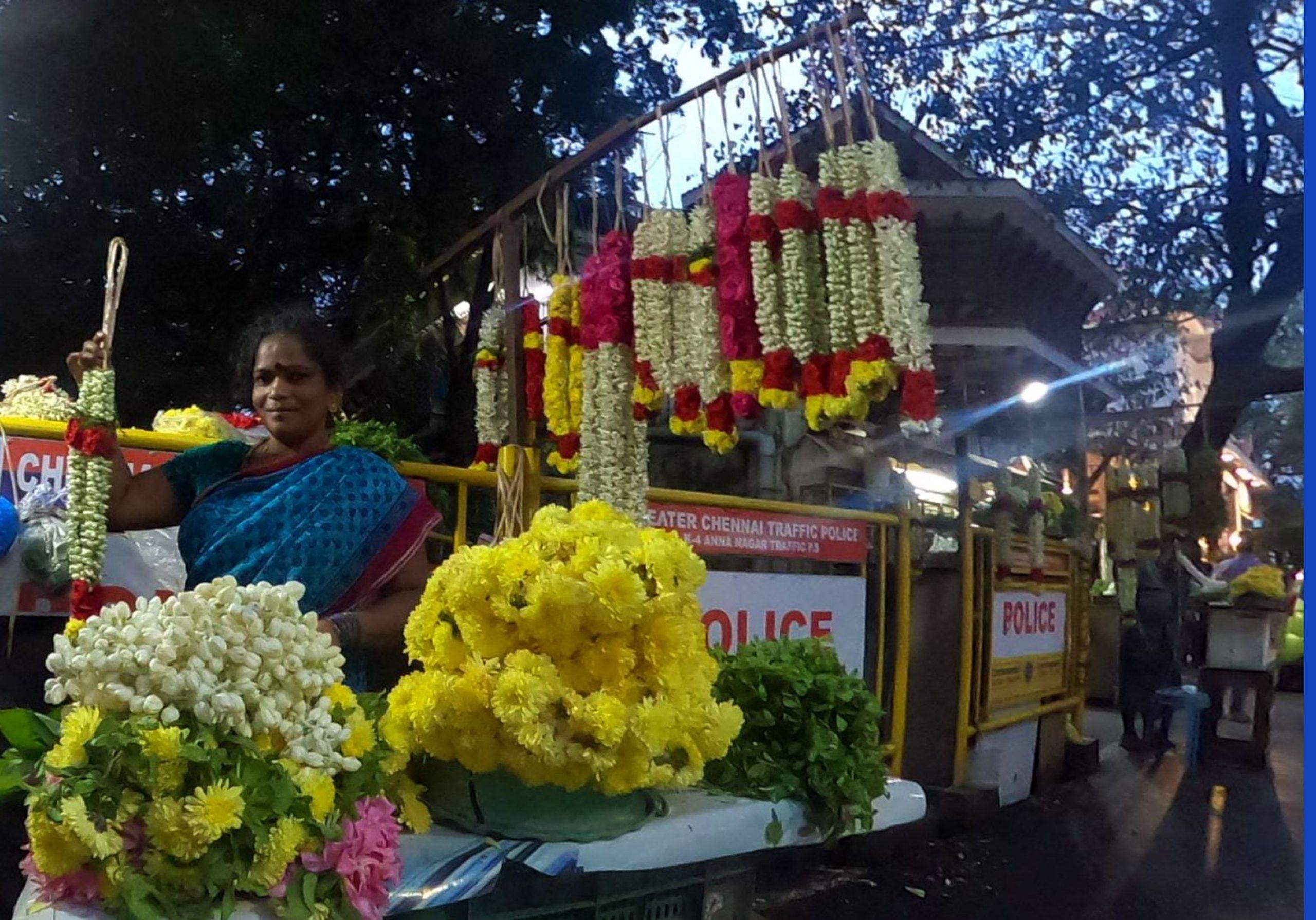Flower Seller Outside Temple