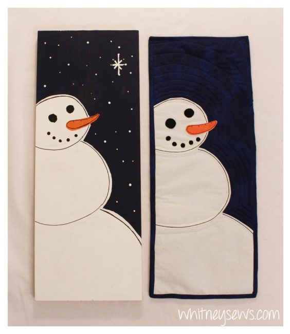 Matching Snowman Painting and Mini Quilt with how tos by Whitney Sews