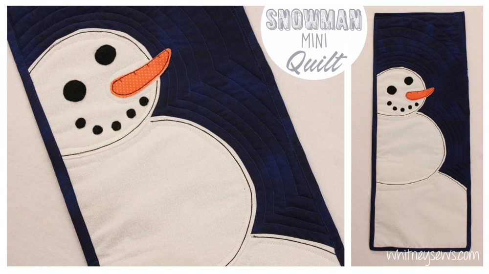 DIY Snowman Mini Quilt how to from Whitney Sews. Perfect edition to your Christmas decor!