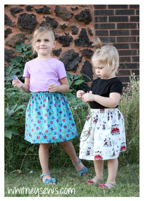 Easy gathered skirts for girls - full sewing how to