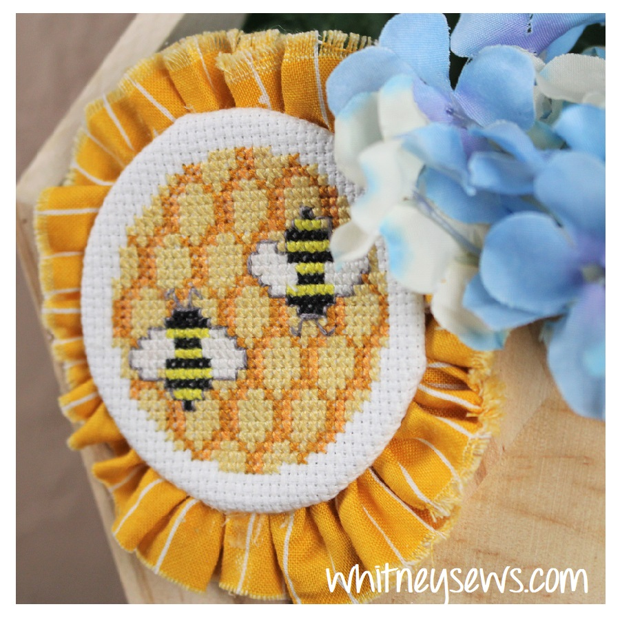 Honey comb and bee cross stitch finish by Whitney Sews