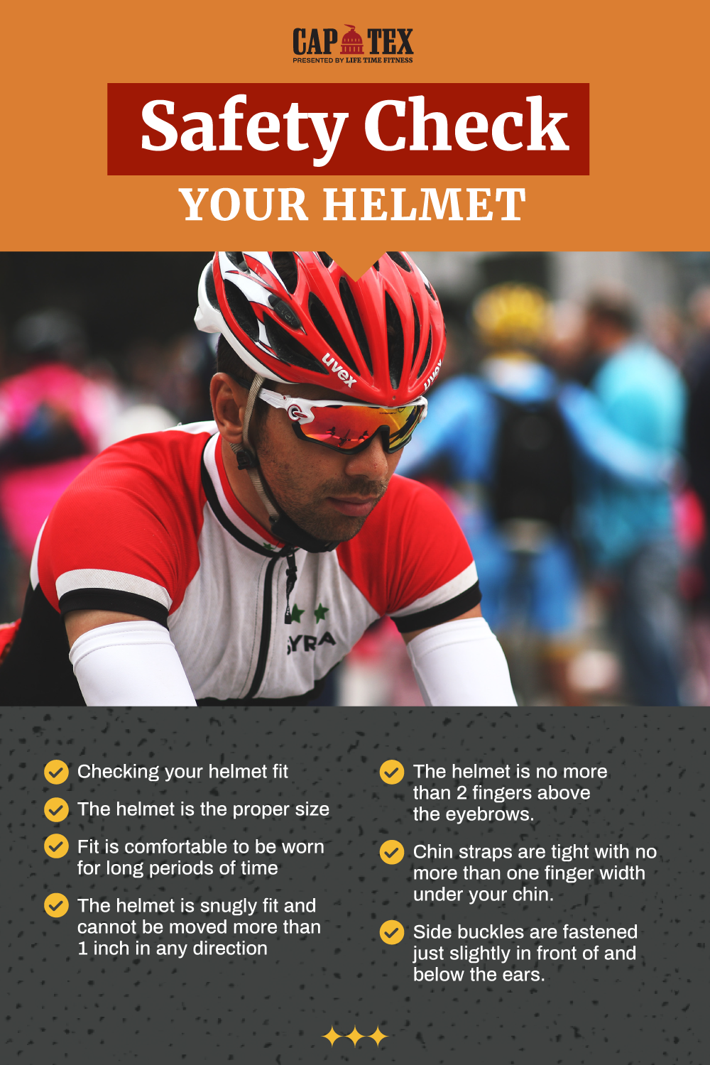 Cyclist wearing a helmet properly with instructions to check proper helmet fit for safty