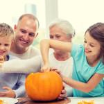 Family celebrating Halloween after a divorce
