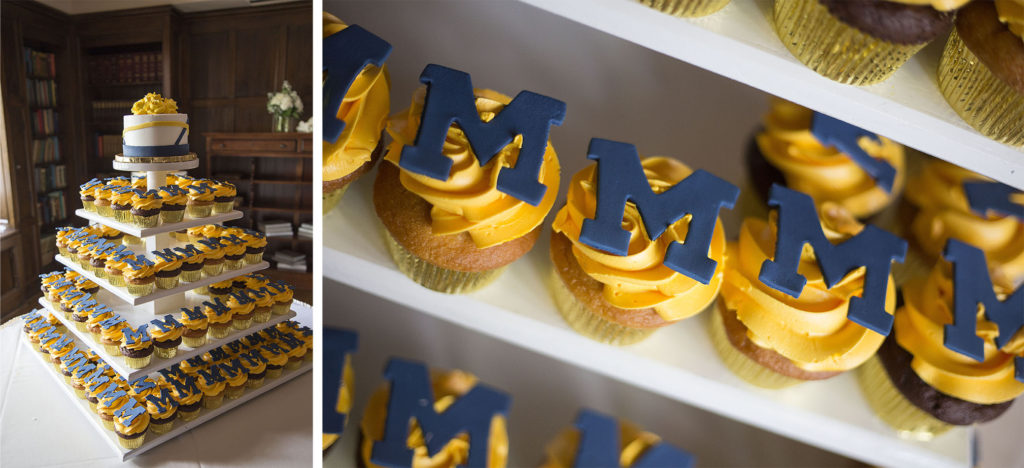 University of Michigan themed cupcakes for the wedding