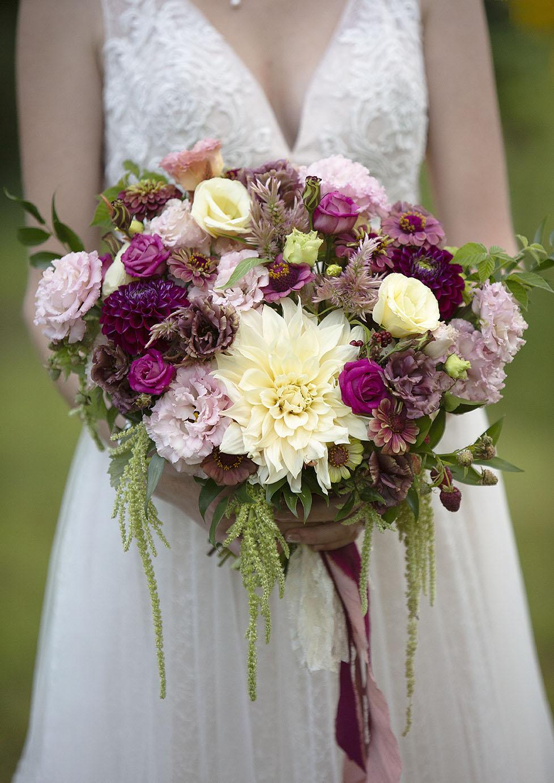Burgundy, fuchsia, and blush wedding bouquet