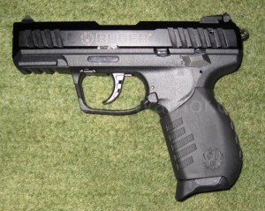 A semi-auto pistol, the Ruger SR-22 (.22LR caliber)