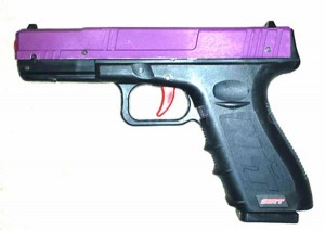 The infrared SIRT pistol has a purple slide to distinguish it from the regular SIRT pistol.