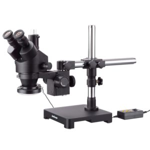 3.5X-45X Black Trinocular Stereo Zoom Microscope on Single Arm Boom Stand