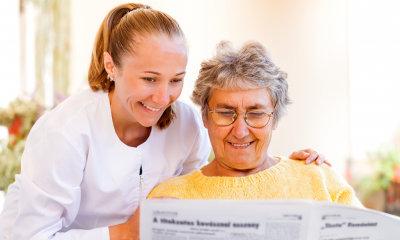 elderly woman with her nurse