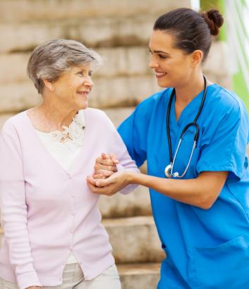 nurse talking to her patient