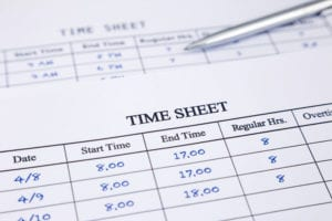 Employee time sheet for wage and hour