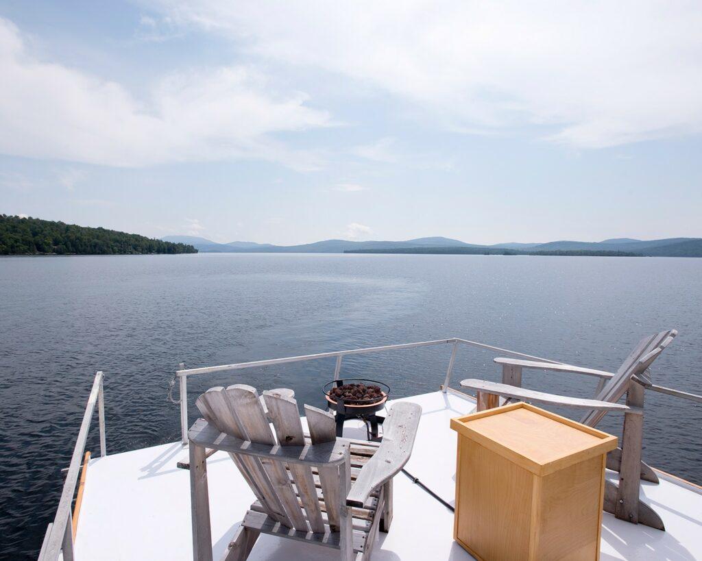 Floating Camp Nomad Upper Viewing Deck on Rangeley Lake