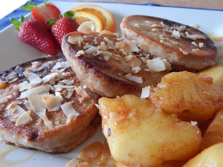 Fours the Score Pancakes with Cinnamon Glazed Pineapple   Anita's Organic Mill