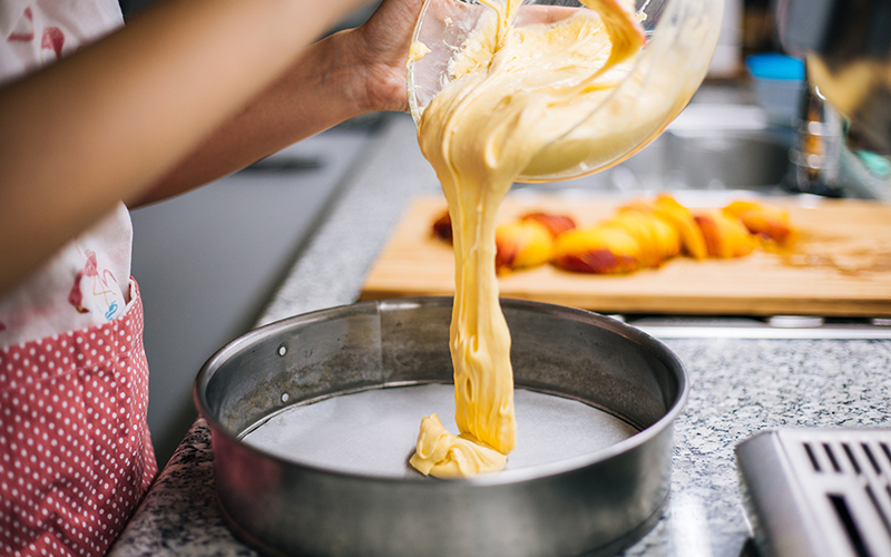 Pouring cake batter