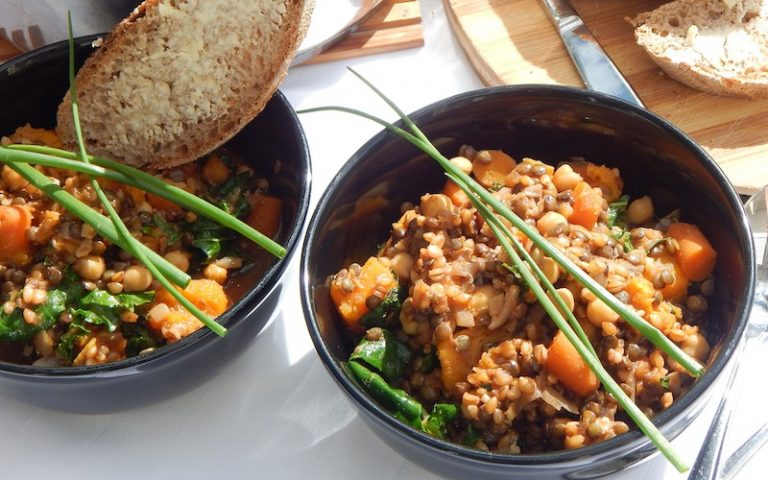 Rainbow Vegetable Stew with Einkorn, Lentils and Chickpeas   Anita's Organic Mill