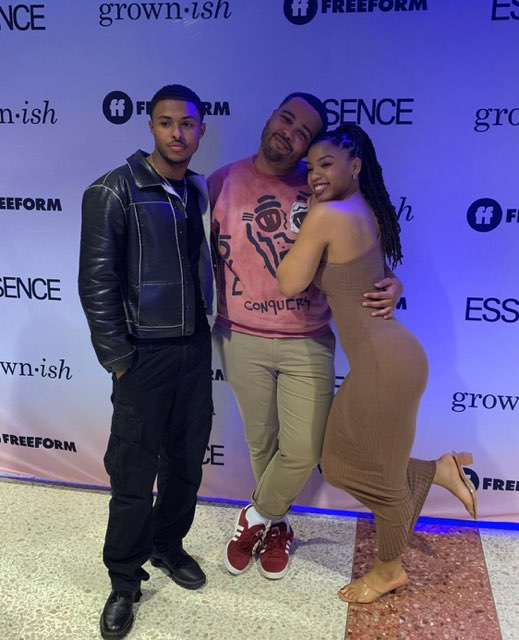 diggy simmons, chloe bailey, and des moran from grownish at spelman college grown-ish x broke event freeform essence magazine