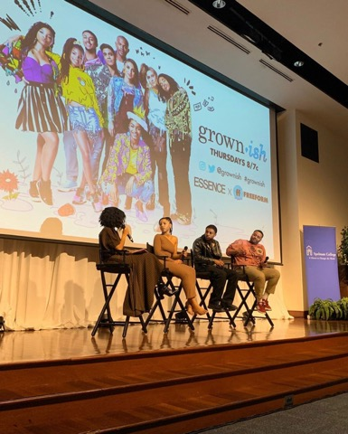 """Nandi Howard, Diggy Simmons, Chloe Bailey, and Des Moran from grow-nish at Spelman College's """"grown-ish x broke"""" event with Freeform and Essence Magazine"""