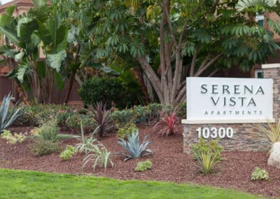 Serena Vista Apartments sign with landscaping