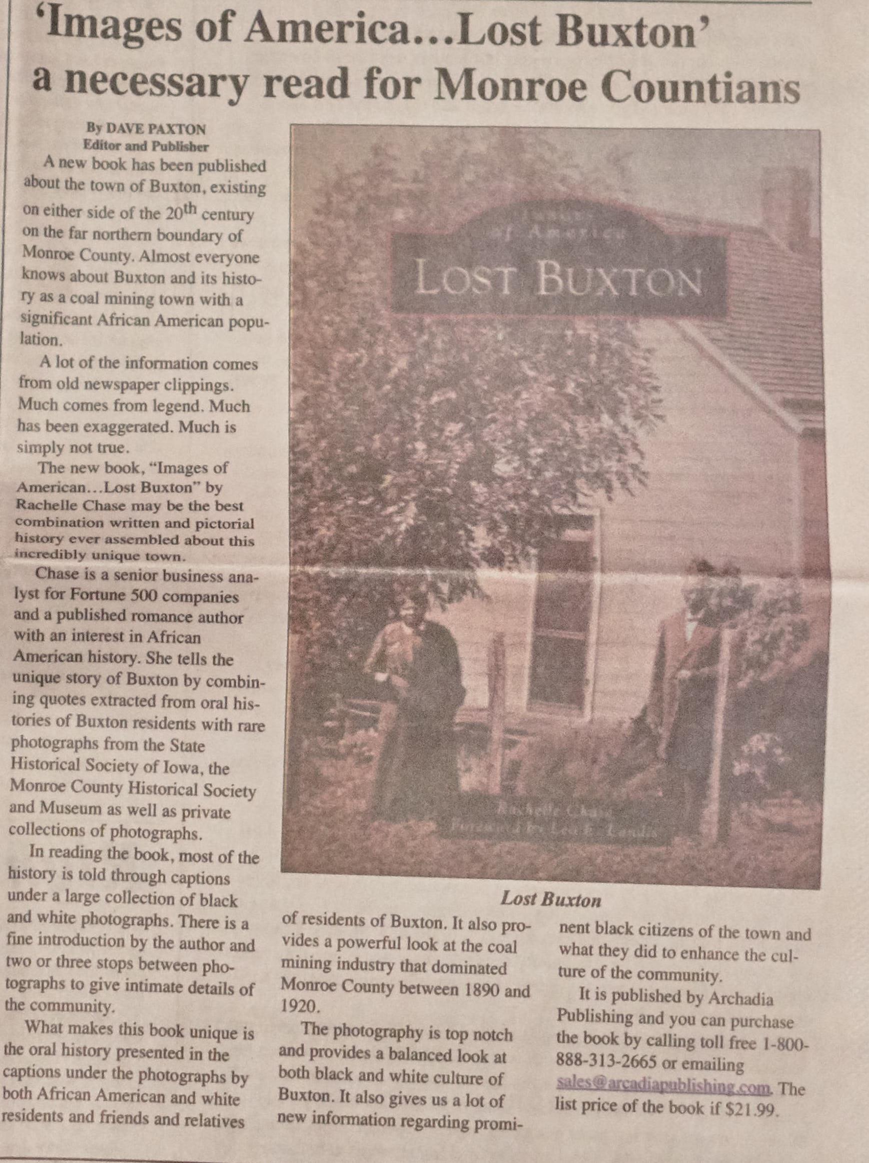 Lost Buxton - Albia Union Republican