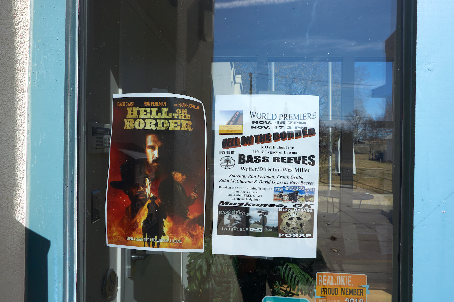 Three Rivers Museum door with movie poster