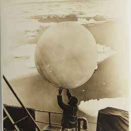 1947--Preparing for Radiosonde Launch on Mount Olympus, Bay of Whales, Antarctica