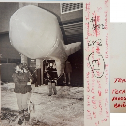 1960 circa-Meteorologist Sue Ann Bowling and Weather Balloon (combined)
