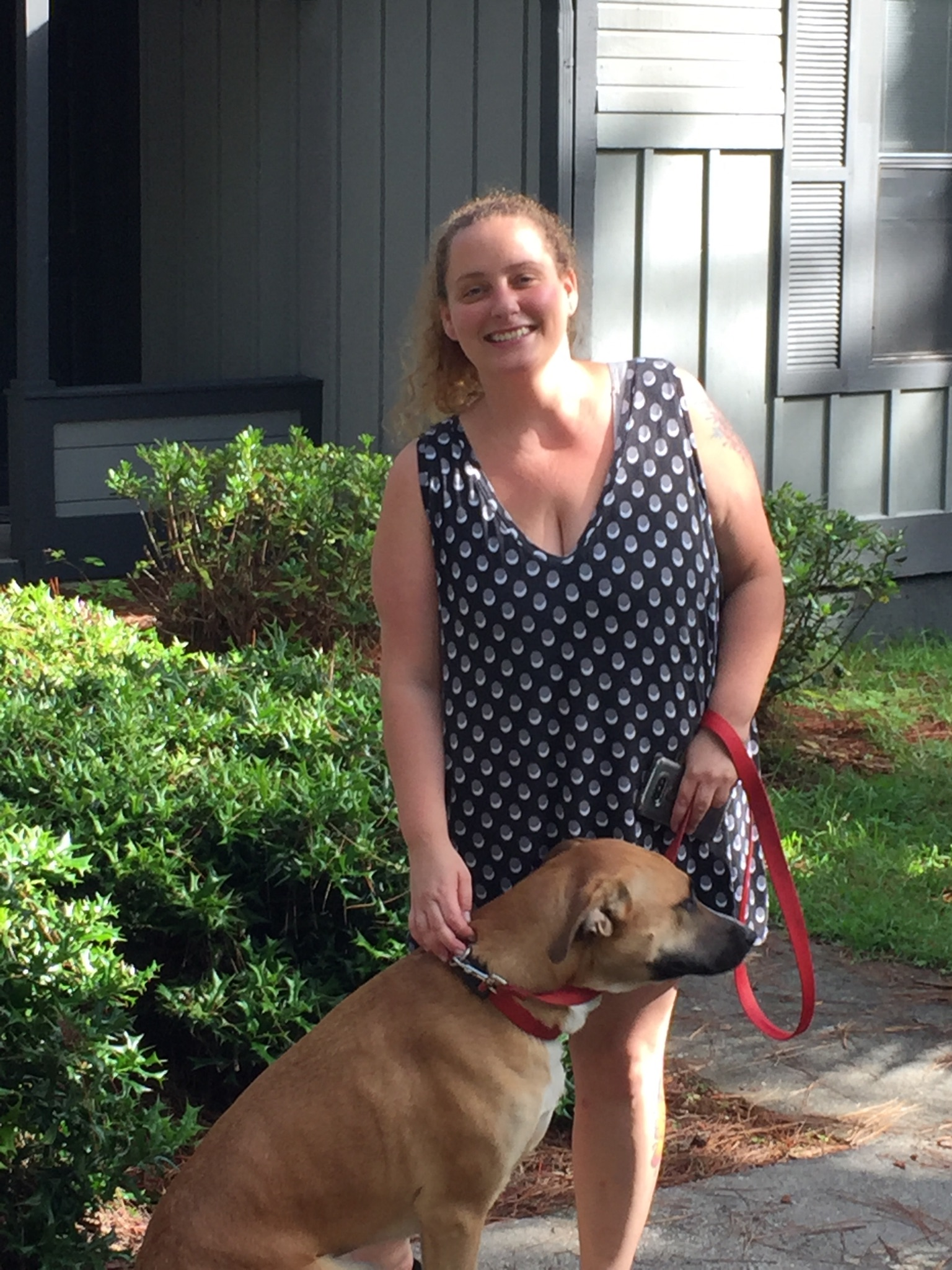 Here are Terra King and her Labrador Retriever, Thor.  She also transported Jack & Sally (tortoises) with us from CA to FL. Looks like another happy reunion!