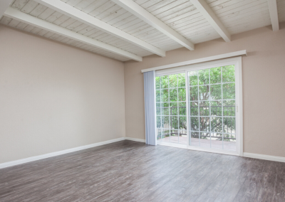 Living room with french door opening to the balcony