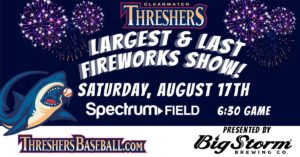 Largest & Last Fireworks of the Season; Clearwater Threshers @ Spectrum (Brighthouse) Field
