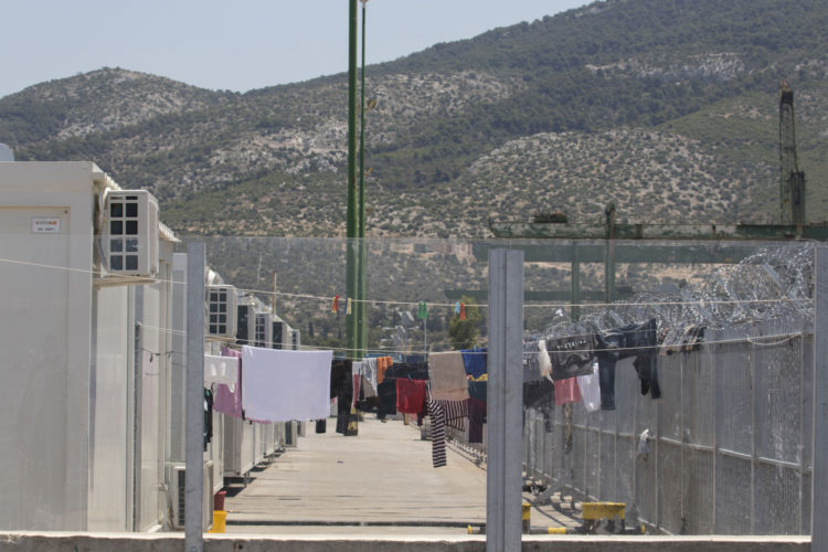 06/01/2017 ATHENS, GREECE (EU) The Skaramagas refugee camp is 11k west of Athens, has become home to 3,000 refugees mostly from Syria, Iraq and Afghanistan, have been settled here to wait out the sometimes years-long relocation process elsewhere in Europe. They live in trailer-like homes  3,200 refugees wait out the sometimes years-long relocation process in caravans, trailer-like homes lined up in rows leading to a common area with a community center, a playground, and offices for non-governmental organizations (NGOs).