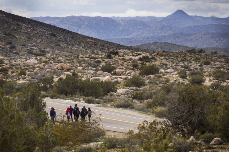 """IMPERIAL COUNTY, CA 03-10-2019:  A team of students from University of Utah walk along a roadway in the Imperial Valley near the southern border, where they joined a Border Angels leader Hugo Castro on a  """"water drop"""" in the desert for migrants, where they scattered water containers under sagebrush and along trails that migrants use. """"Water drops"""" are one of Border Angels leading humanitarian efforts. These are hikes to remote areas where they leave water containers for migrants crossing into the U.S."""
