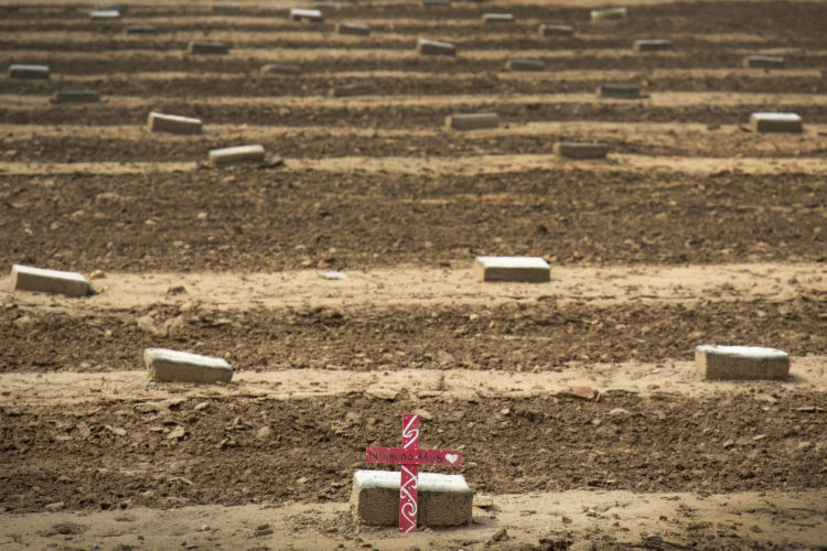"""HOLTVILLE, CA 03-10-2019:  The """"Cemetery of the Forgotten"""" is one of the few known resting places in the U.S. for unidentified migrants who died while attempting to illegally cross the U.S.-Mexico border. About 250 unidentified individuals are buried in the 3-acre dirt lot, and ach grave is marked with a small stone inscribed with a row number and the words """"John Doe"""" or """"Jane Doe."""""""