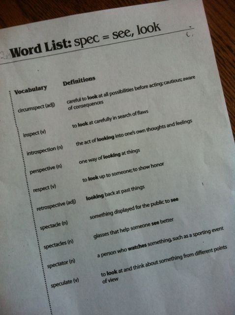 my daughter's spelling list of words including the Latin root SPEC