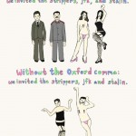 oxford comma illustration with stalin jfk and strippers