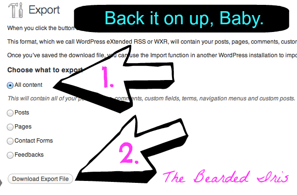 back up your wordpress blog part 2