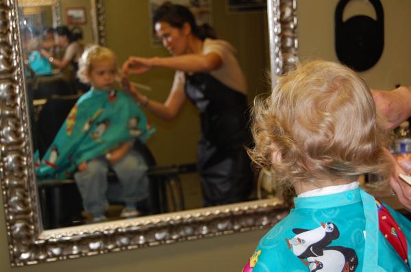 Bucket Head's first haircut